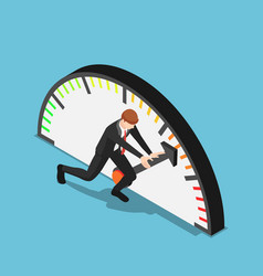 Isometric businessman trying to push meter to the vector