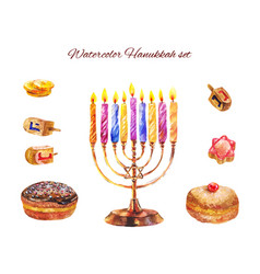 Jewish holiday hanukkah with menorah and vector