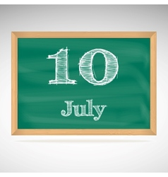 July 10 day calendar school board date vector