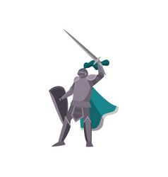 knight in gray armor raised his sword high above vector image