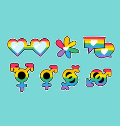 Lgbtqi rainbow pride different labels set vector