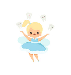little tooth fairy and cute bateeth flying vector image