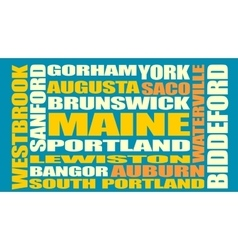 Maine state cities list vector image