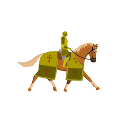 medieval old knight in green color armor and brown vector image
