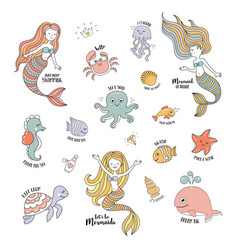 Mermaids cartoon characters with cute sea animals vector