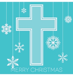 Merry Christmas with cross and snowflakes vector image