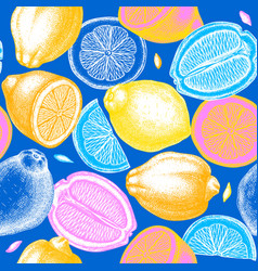 neon colored citrus fruits background ink hand vector image
