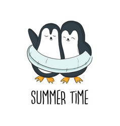 pinguins on summer vacation with inflatable vector image