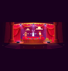 Puppet theater on stage funny dolls perform show vector