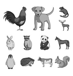 Realistic animals monochrome icons in set vector