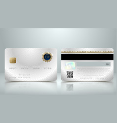 realistic silver credit card with abstract vector image