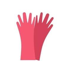 Red rubber gloves flat vector