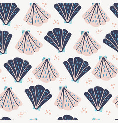 Scallops flat hand drawn seamless pattern vector