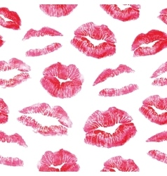 Seamless pattern - red lips kisses prints vector image
