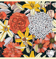seamless pattern with spring flowers on white vector image