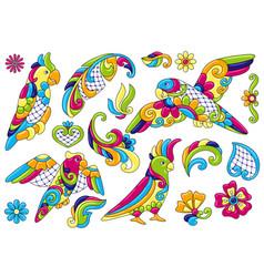 set decorative tropical parrots mexican vector image