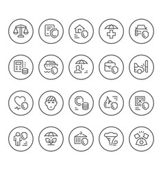 set round line icons insurance vector image