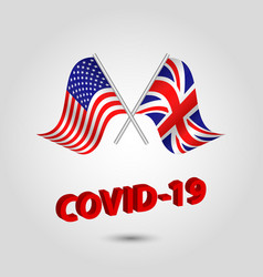 Set two waving crossed flags usa and uk vector