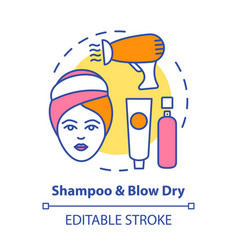 Shampoo and blow dry concept icon hair care vector