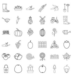 shovel icons set outline style vector image