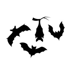 silhouette elements bats on white background vector image