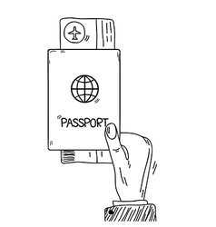 Sketch hand holding passport and air tickets vector