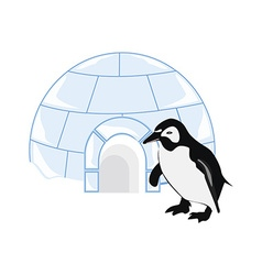 Snow house igloo and penguin vector