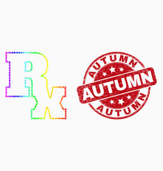 spectrum dotted rx symbol icon and distress vector image