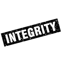 Square grunge black integrity stamp vector