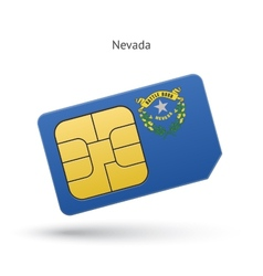 State nevada phone sim card with flag vector