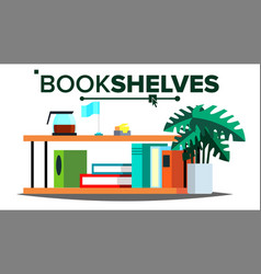 storage shelves document book furniture vector image