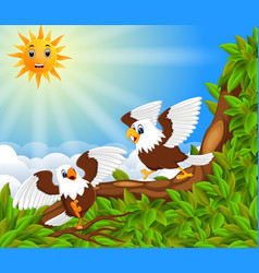 two dahing eagle perch on the trunk vector image