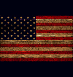 usa flag painted on wooden fence vector image