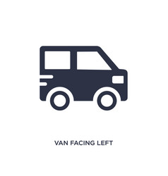 Van facing left icon on white background simple vector