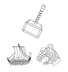Vikings and attributes outline icons in set vector