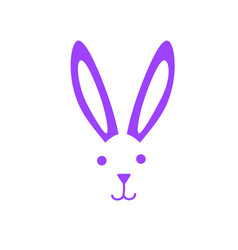 White rabbit face with nose and ears happy easter vector