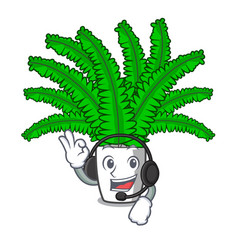 With headphone fresh fern branch isolated on vector