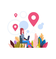 Woman geolocation tag marked bubbles map pin hold vector