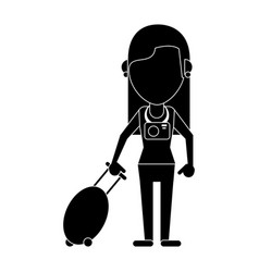 Woman tourist with camera and suitcase pictogram vector