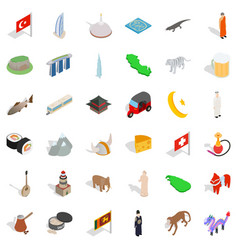 world architecture icons set isometric style vector image