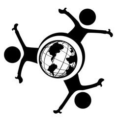 World people symbol three vector