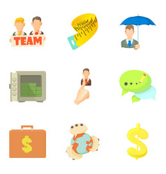 global company icons set cartoon style vector image vector image