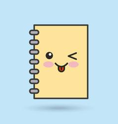 notebook character kawaii style vector image