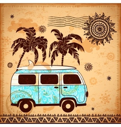 Retro Travel bus with vintage background vector image