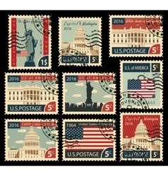 stamps with United States of America landmarks vector image vector image