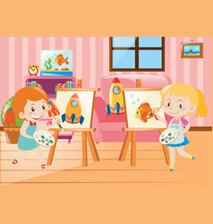 two girls drawing on canvas in room vector image