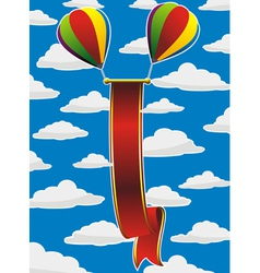 balloons red ribbon vector image vector image