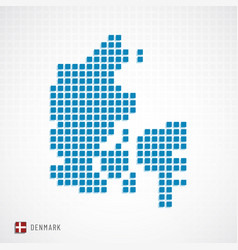 denmark map and flag icon vector image