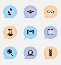 set of 9 editable graduation icons includes vector image vector image