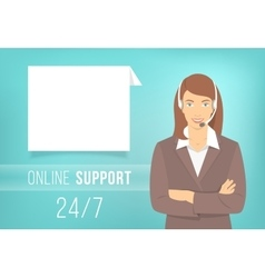 Call Centre Support Woman with Headphones vector image vector image